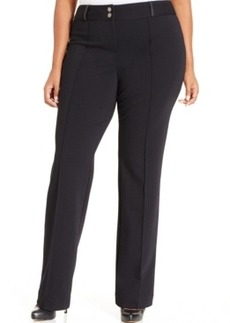 Style & co. Plus Size Faux-Leather-Trim Seamed Bootcut Pants, Only at Macy's