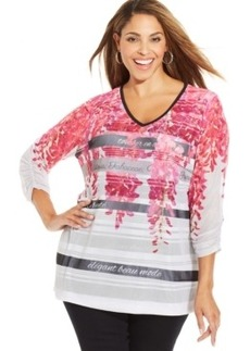 Style & co. Plus Size Floral-Print Striped Top