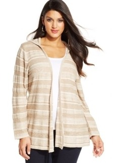Style & co. Plus Size Hooded Striped Cardigan