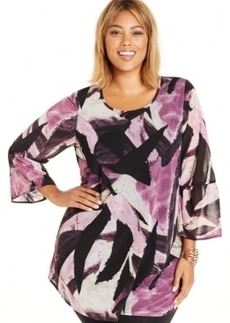 Style & co. Plus Size Lace-Back Printed Tunic Blouse, Only at Macy's