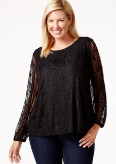 Style & co. Plus Size Lace Overlay Top, Only at Macy's