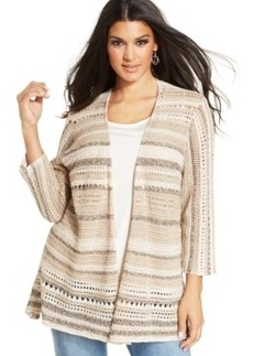 Style & co. Plus Size Marled Pointelle-Knit Cardigan