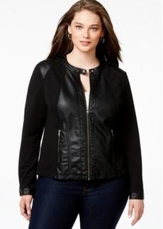 Style & co. Plus Size Mixed-Media Faux-Leather Jacket, Only at Macy's