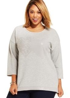 Style & co. Plus Size Mixed-Media Heart Sweatshirt