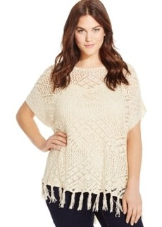Style & co. Plus Size Open-Knit Fringed Sweater