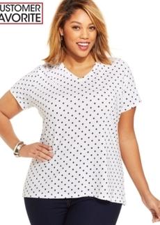 Style & co. Plus Size Polka-Dot V-Neck Tee