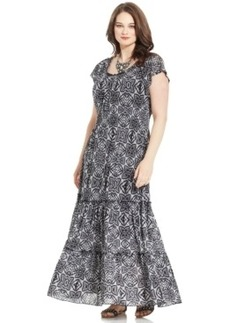 Style & co. Plus Size Printed Peasant Maxi Dress