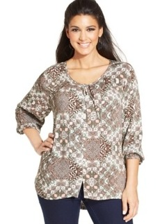 Style & co. Plus Size Printed Peasant Top