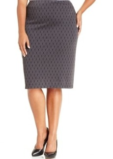 Style & co. Plus Size Printed Ponte-Knit Pencil Skirt, Only at Macy's