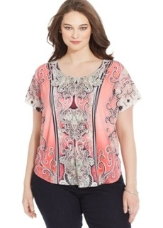 Style & co. Plus Size Printed Studded Tee
