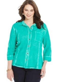 Style & co. Plus Size Semi-Sheer Mineral-Wash Shirt