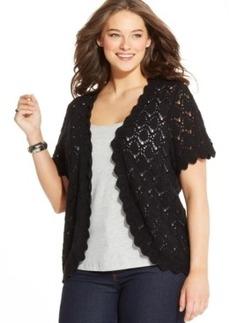 Style & co. Plus Size Short-Sleeve Crochet Cardigan