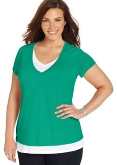Style & co. Plus Size Short-Sleeve Layered-Look Tee