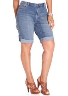 Style & co. Plus Size Shorts, Ex-Boyfriend Bermuda Denim, Sea Glass Wash