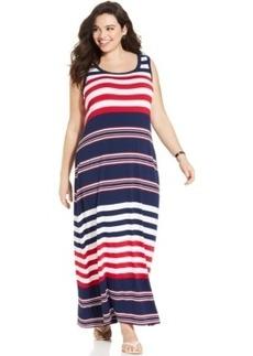 Style & co. Plus Size Sleeveless Striped Maxi Dress