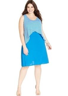 Style & co. Plus Size Stripe-Overlay Dress
