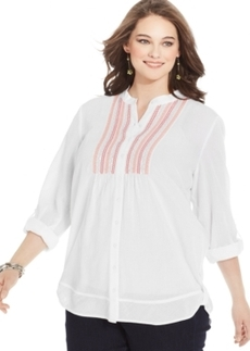 Style & co. Plus Size Tab-Sleeve Beaded Shirt