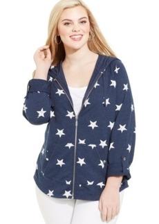 Style & co. Plus Size Tab-Sleeve Star-Print Hoodie