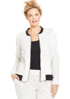 Style & co. Sport Plus Size Space-Dye Knit Bomber Jacket