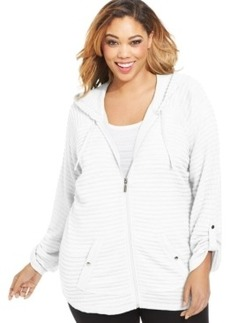 Style & co. Sport Striped Tab-Sleeve Hoodie