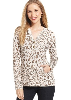 Style&co. Petite Animal-Print Hooded Pullover