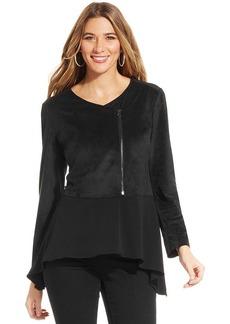 Style&co. Petite Asymmetrical Faux-Suede Jacket