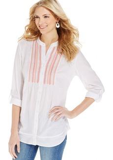 Style&co. Beaded-Bib Button-Up Shirt