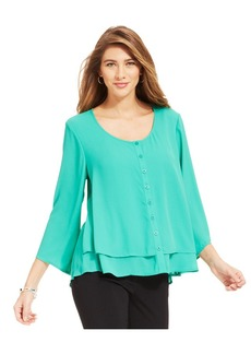 Style&co. Button-Front Swing Blouse
