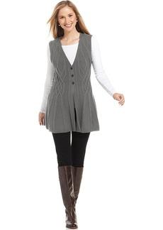 Style&co. Cable-Knit Button-Front Vest