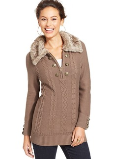 Style&co. Petite Cable-Knit Faux-Fur-Collar Pullover