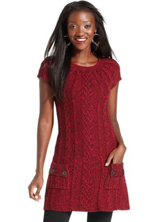 Style&co. Cap-Sleeve Cable-Knit Tunic
