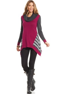 Style&co. Colorblock Striped Sweater Tunic