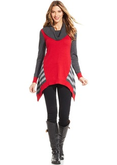 Style&co. Petite Colorblocked Striped Sweater Tunic