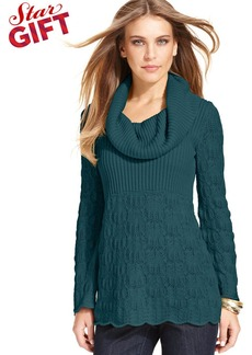 Style&co. Cowl-Knit Open-Knit Sweater