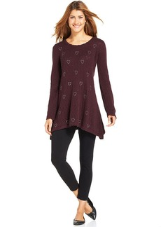 Style&co. Embellished-Hearts Sweater Tunic