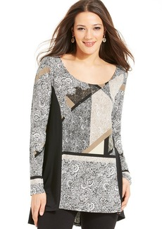 Style&Co. Petite Embellished Panel Top