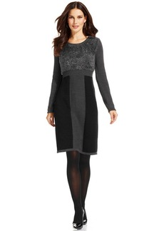 Style&co. Petite Eyelash Colorblock Sweater Dress