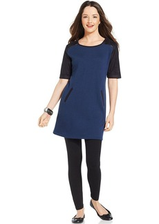 Style&co. Faux-Suede-Sleeve Colorblock Tunic