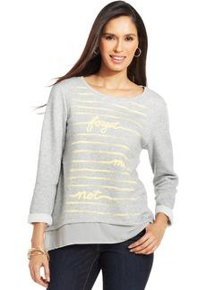 Style&co. Layered Look Chiffon Sweatshirt