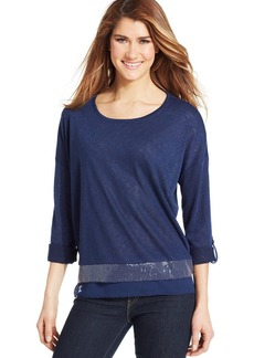 Style&co. Layered-Look Sequin-Hem Top