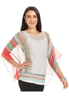 Style&co. Petite Layered Butterfly Poncho Top