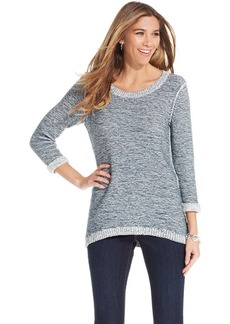 Style&co. Petite Marled-Knit High-Low Sweater