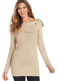 Style&co. Metallic Ribbed-Knit Sweater