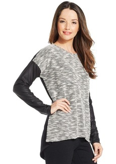 Style&co. Petite Mixed-Media Faux-Leather Pullover