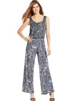 Style&co. Petite Printed Blouson Jumpsuit