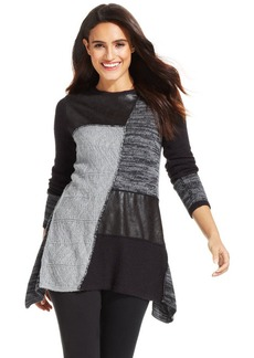 Style&co. Petite Patchwork Faux-Leather Sweater Tunic