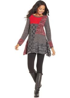 Style&co. Patchwork Handkerchief-Hem Sweater Tunic