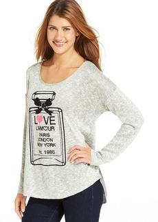Style&co. Petite Perfume-Print Button-Back Top
