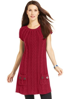 Style&co. Petite Cap-Sleeve Cable-Knit Tunic
