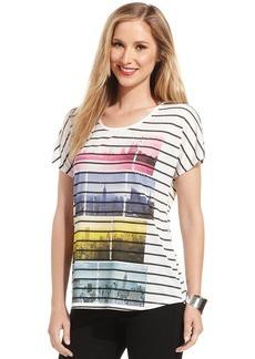 Style&co. Petite City-Print Striped Tee